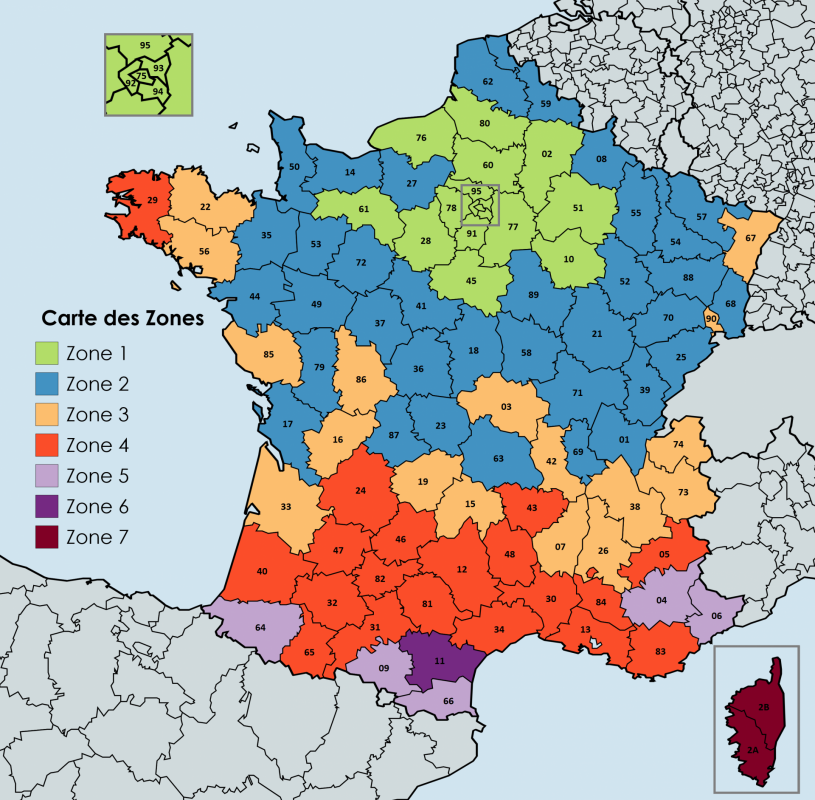 Carte des zones 1